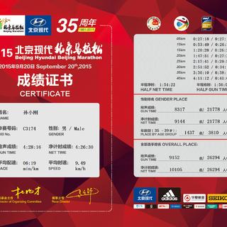 2015北京马拉松参赛成绩证书