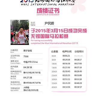 2015无锡马拉松尹民爵的成绩证书