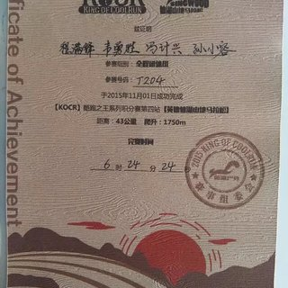 2015英德仙湖山地马拉松团体成绩证书